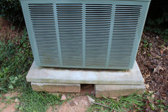 Detail Of A Heat Pump On An Unstable Base Royalty Free Stock Images