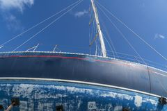 Detail Of An Old Blue Sailing Boat Stock Photography