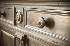 Free Detail Of An Old Knob Turned Wood - Old Tuscany Furniture - Italy, 19th Century Royalty Free Stock Images - 140829849