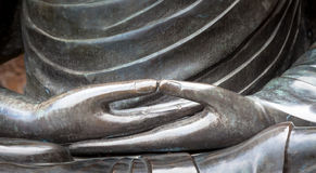 Detail Of Buddha Statue With Dhyana Hand Position, The Gesture O Stock Photos