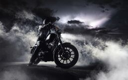 Free Detail Of High Power Motorcycle Chopper With Man Rider At Night Royalty Free Stock Image - 196240846