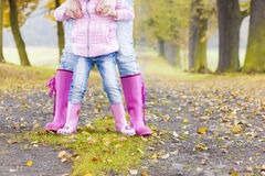 Detail Of People In Rubber Boots Stock Photo