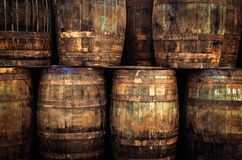 Free Detail Of Stacked Old Wooden Whisky Barrels Stock Image - 115909071