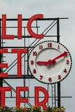 Detail Of The Sign And Clock Of The Public Market In Seattle Stock Images