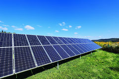 Detail Of The Solar Power Station On Spring Meadow Royalty Free Stock Photo