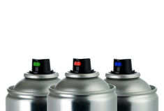 Detail Of Three Aerosol Cans Royalty Free Stock Photo