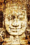 Detail Of Vintage Stone Face In The Bayon Temple At Angkor Wat Stock Photos