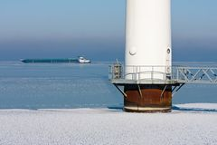 Detail of an offshore windturbine in a frozen sea Royalty Free Stock Photography