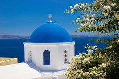 Detail of Oia church on Santorini. The Cyclades Royalty Free Stock Photo