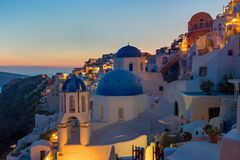 Detail of Oia at dawn Stock Photo