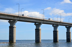 Detail of Oland Brige, Sweden. Tourists on their way to the island Oland on the bridge from mainland Sweden royalty free stock photography