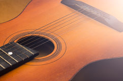 Detail of old acoustic guitar Royalty Free Stock Photos