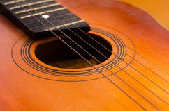 Detail of old acoustic guitar Stock Images