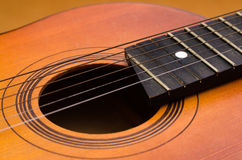 Detail of old acoustic guitar Royalty Free Stock Photography