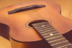 Detail of old acoustic guitar.  Royalty Free Stock Photography