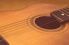 Detail of old acoustic guitar.  Stock Photos