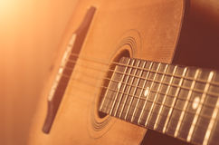 Detail of old acoustic guitar Stock Photos