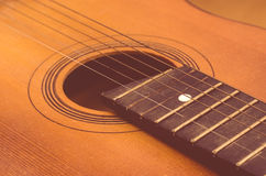 Detail of old acoustic guitar Royalty Free Stock Photo