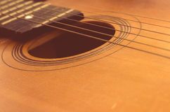 Detail of old acoustic guitar.  Royalty Free Stock Images