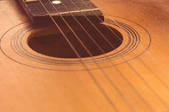 Detail of old acoustic guitar.  Royalty Free Stock Photos