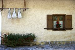 Detail of old alpine farmhouse Stock Photos