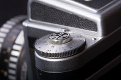 Detail of old analog photo camera Royalty Free Stock Images