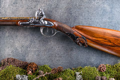 Detail of old antique long gun with forest still life on grey background, historical weapons Royalty Free Stock Photo