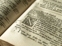 Detail of old bible. Very old European bible with ornament Royalty Free Stock Images