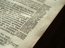Detail of old bible. Very old European bible with side notes Royalty Free Stock Photography