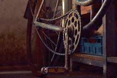 Detail old bicycle with a retro effect Royalty Free Stock Image