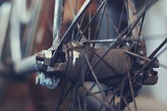 Detail old bicycle with a retro effect Stock Photos