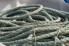 Detail of old blue fishing rope.  royalty free stock image