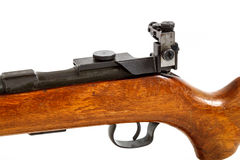 Detail of old bolt action rifle isolated. On white background Royalty Free Stock Images