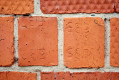 The detail of the old brick wall. Stock Photos