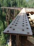Detail of old bridge steel tee rail Stock Photo
