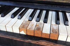 Detail of old, broken and dusty claviature Stock Photos