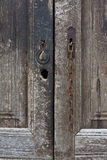 Detail of an old brown wooden door Royalty Free Stock Photography