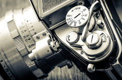 Detail of old classic camera dials in vintage style Stock Image