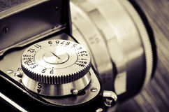 Detail of old classic camera in vintage style Stock Photos