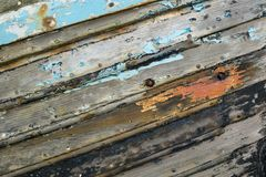 Detail of old clinker built boat. Royalty Free Stock Photo