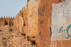 Detail of old colonial fort in Morocco Stock Images