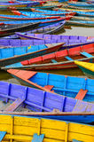 Detail of old colorful sail boats in the lake Stock Photography