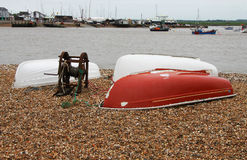 Detail of old coloured boat hulls Royalty Free Stock Photos