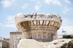 Detail of an old column at Roman Forum in Rome. Italy Royalty Free Stock Photography