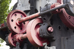 Detail of old engine with gear wheels Royalty Free Stock Photography