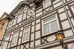 Facade of an old half-timbered house royalty free stock images