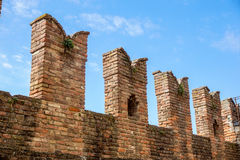 Detail of an old fortified wall of the medieval Castle Stock Images