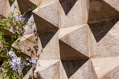 Detail of an old fortified wall. With peaks Royalty Free Stock Photos