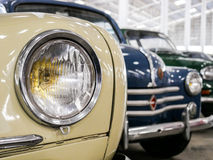 Detail of old french car with round light Royalty Free Stock Photography