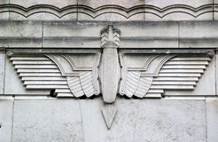 Detail of Old Haymarket tunnel. Architectural detail of the Old Haymarket Entrance to Queensway Tunnel (1934) under Mersey River, Liverpool Royalty Free Stock Images